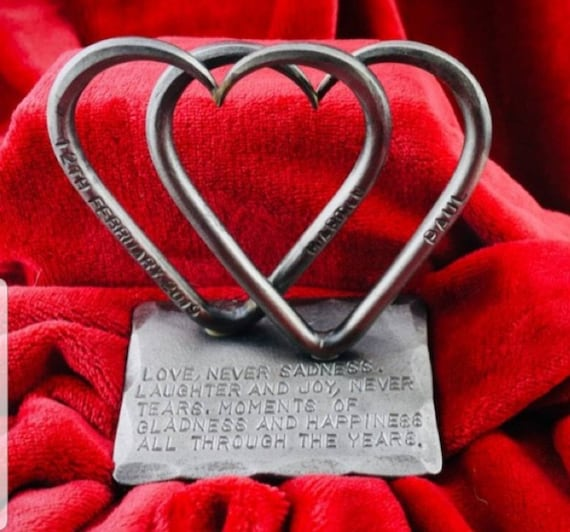 Hand Forge Personalised Love Heart Wedding Anniversary Gift