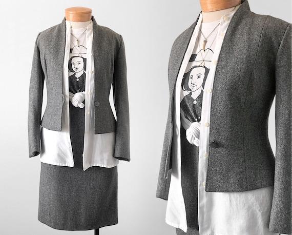 1970's Grey Suit Set / Modern Womens Suit / Skirt