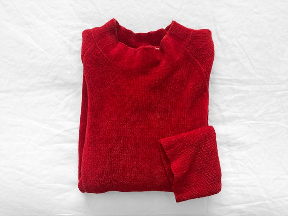 Vintage Red Chenille Sweater / Red Chenille Mock N