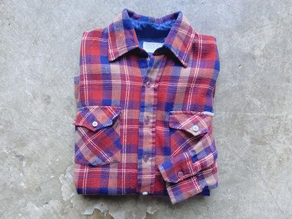 1970's Rust Flannel Shirt / Plaid Flannel Button D