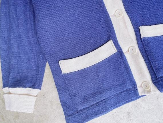 1950's Navy Varsity Sweater / Unisex M - image 5