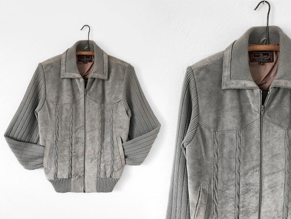 1970's Grey Suede & Knit Bomber / Suede Bomber Jac