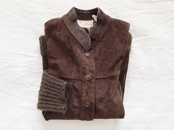 Vintage Brown Suede Bomber Jacket / Wool and Suede