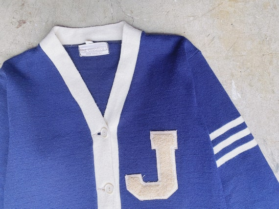 1950's Navy Varsity Sweater / Unisex M - image 2