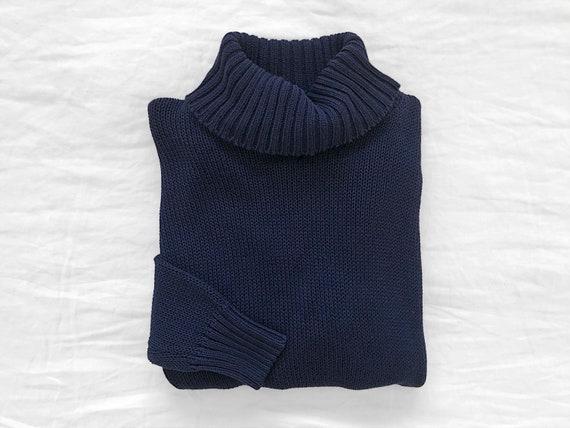 Vintage Navy Open Weave Turtleneck / Blue Knit Tur
