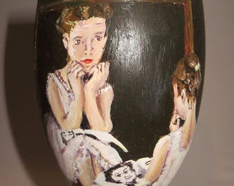 Norman Rockwell handpainted glass