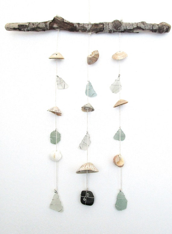 Driftwood Chime Sea Glass Wind Chime Chime Sea Glass Sun Catcher Shell Wind Chime Exotic Shells Wind Chime Garden Decor