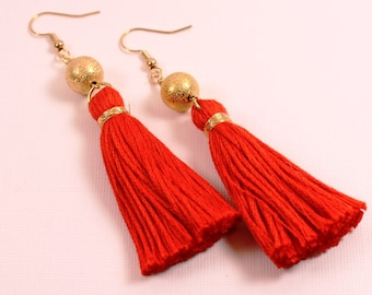 69bb56052c8e18 Fiery red orange tassel earrings with matte gold bead drop earring, drop tassel  earrings, boho earrings, trendy earrings, summer earrings