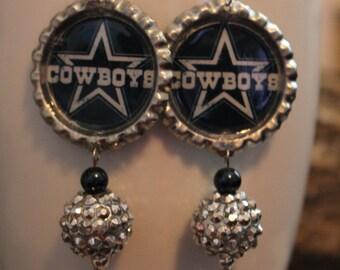 7f6317219ad8f6 Dallas Cowboys inspired bottlecap bling drop earrings