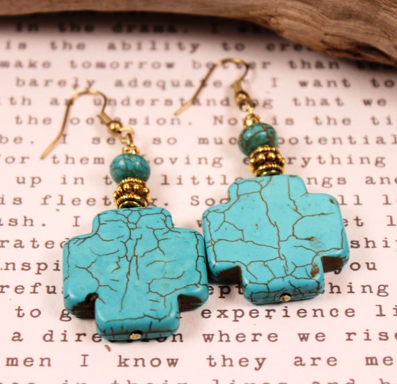Aqua Green Magnesite Square Earring