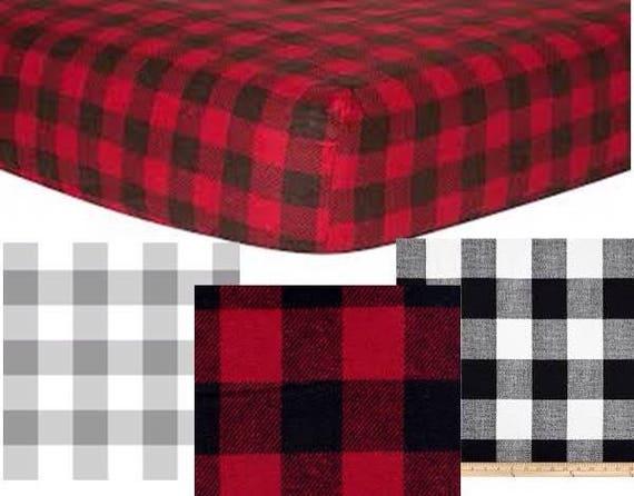 Buffalo Check Plaid Woodland Animal Arrow Crib Sheet Burp