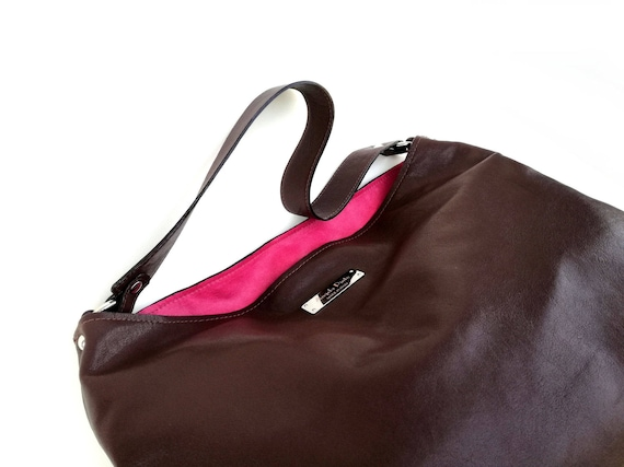 c757c02208d3 Soft leather hobo bag large leather bags pink brown bags