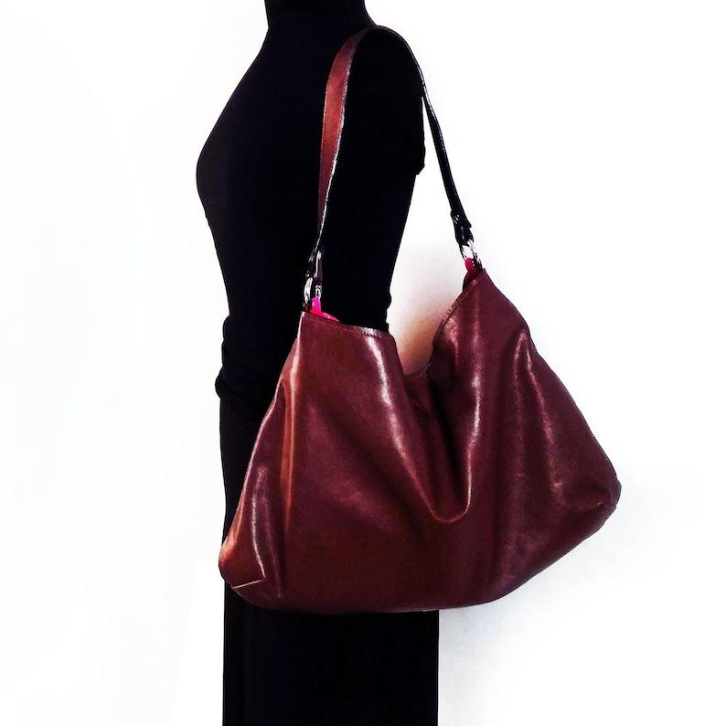 ba10362261ca Brown soft leather hobo large leather bag pink brown bag