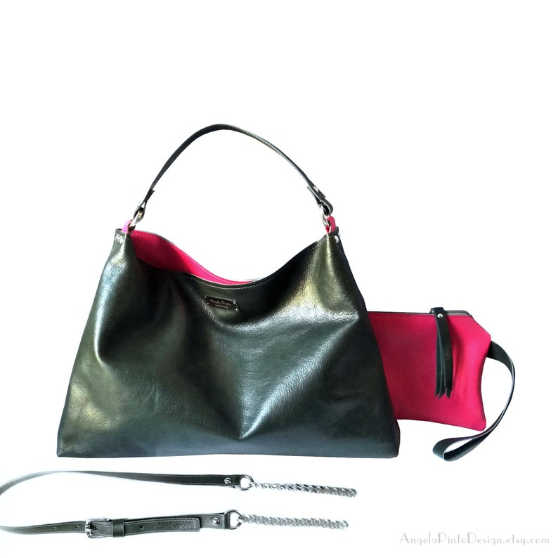 5d170a1919a8d8 Leather hobo bag in dark green or soft leather bag large   Etsy