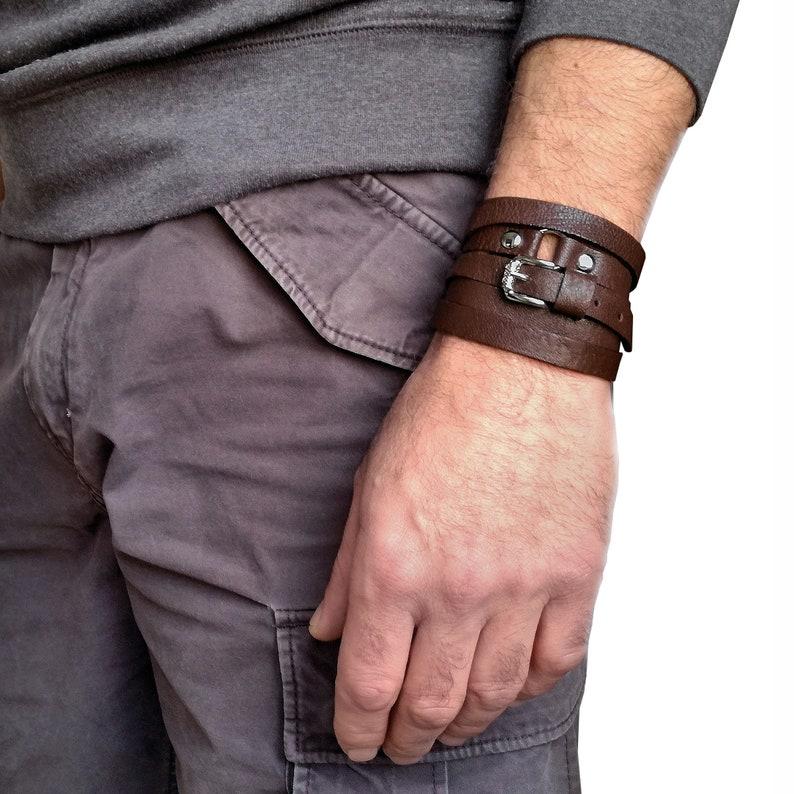 Black leather bracelet as gift for men wrap leather bracelet or wrapped bracelet his and her bracelet