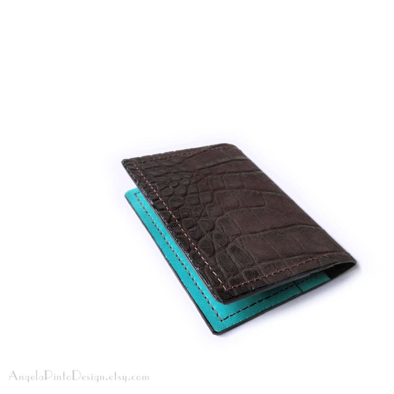 check out 2c2bd b9481 Leather card holder in dark brown and tiffany green. Womens Card case.  Leather Card wallet. Business card holder. Card holder wallet for her