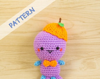 Monster Amigurumi Pattern - Crochet Monster Pattern - Amigurumi Monster Crochet Pattern - Monster Plush Pattern - Monster with Orange Hat