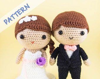 Bride and Groom Amigurumi Pattern - Wedding Crochet pattern - Amigurumi Wedding Pattern - DIY Wedding Gift - DIY wedding Decor