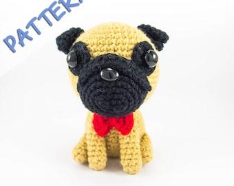 Pug Amigurumi Crochet Pattern -- DIY dog lover gift 008abc9866
