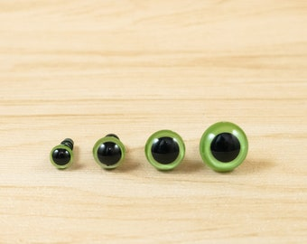 Pearl Green safety eyes -- 6mm, 8mm, 10mm, 12mm -- 5, 10, 25 or 50 pairs -- color eyes for amigurumi, crochet plush toy, stuffed animal
