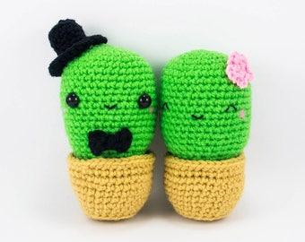 Amigurumi Cactus Couple  -- amigurumi wedding, amigurumi couple, crochet cactus, cactus plush for unique wedding gift and wedding decor