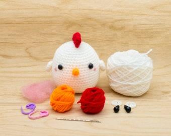Chicken Crochet Kit, Chicken Amigurumi Kit, Stuffed Animal Kit, DIY Gift for Crochet Lover