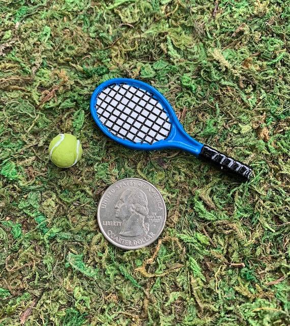 Miniature Dollhouse FAIRY GARDEN Accessories ~ Tennis Racket /& Ball ~ NEW