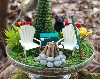 Miniature Dome Camping Scene With Bear - The Great Outdoors - Glass Dome Included - Miniatures - Miniature Bear - Miniature Camping - Bear