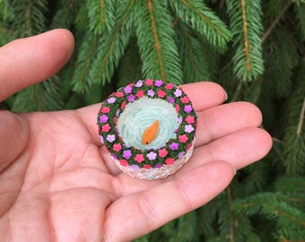 Miniature Fishpond - Your Color Choice - One Inch Scale - Miniature Flowers - Miniature Garden - Miniatures - Fairy Garden - Miniature Fish