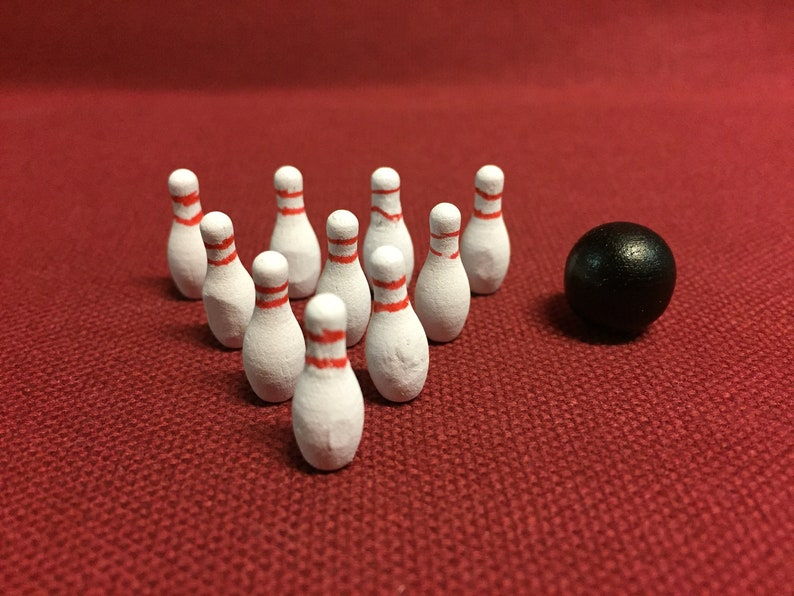 Miniature Bowling Pins And Ball - Miniature Sports - Sports Miniatures -  Miniature Bowling - Cake Toppers - Terrarium -Bowling -Fairy Garden