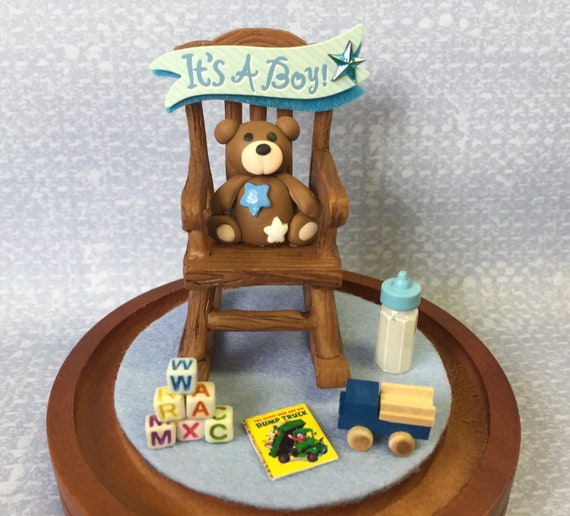Phenomenal Miniature Baby Boy Dome Includes Glass Dome And Wood Base Miniature Truck Miniature Baby Baby Diorama Baby Shower Gifts Its A Boy Squirreltailoven Fun Painted Chair Ideas Images Squirreltailovenorg