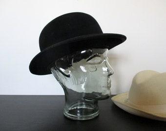 fc876ae9c0a Antique French Black Bowler Hat - Vintage Bowler Hat - Black Bowler Hat -  Derby Hat - Felt Bowler Hat - Parisian Hat