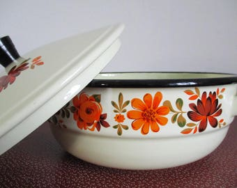 Enamel Casserole Pot, French Enamel, Vintage Enamel Casserole, Enamel Cooking Pot, Vintage Enamel Cookware, Retro Cookware
