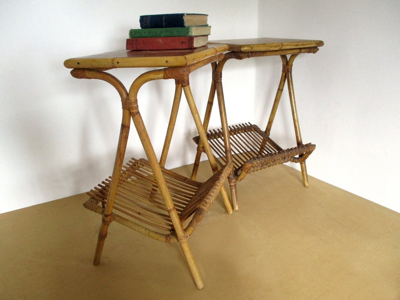 Pair Of French Bamboo Tables Vintage Bamboo Furniture Etsy