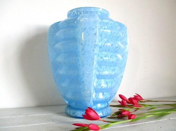 Art Deco Vase Blue Vase French Art Deco Fused Glass Art Etsy