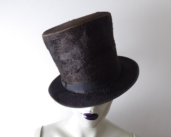 Vintage French Black Top Hat