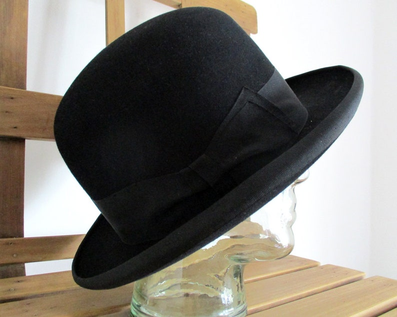 ec35de8f3d8 Vintage Bowler Hat French Hat Black Bowler Hat Derby Hat