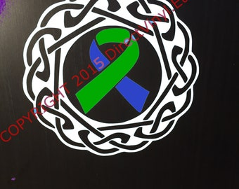 Blue and Green Awareness Ribbon Celtic Knot Decal