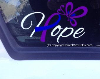 Hope with Blue And Purple Awareness Ribbon Window Decal (Pediatric Stroke, Rheumatoid Arthritis, Juvenile Arthritis))