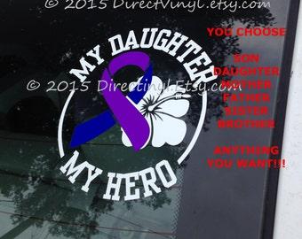 YOU CHOOSE TEXT Purple and Blue Awareness Ribbon Hero/Flower Decal (Pediatric Stroke, Rheumatoid Arthritis, Juvenile Arthritis)