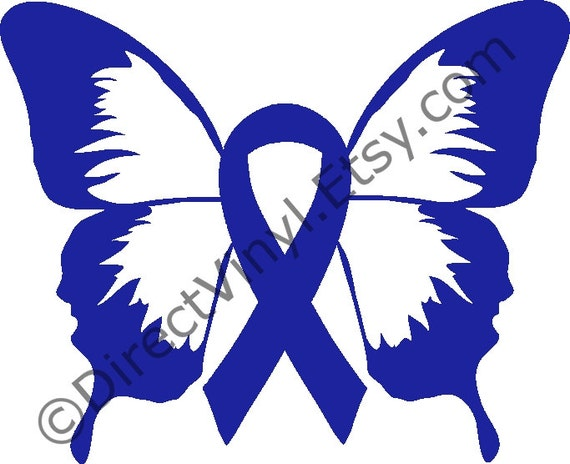 Blue Awareness Ribbon Butterfly Window Decal Apraxia Child Etsy