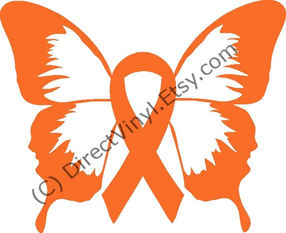 Orange Awareness Ribbon Butterfly Window Decal Kidney Cancer Etsy