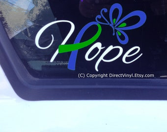 Hope With Blue and Green Awareness Ribbon Decal