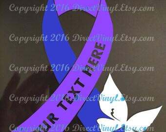 Blue And Purple Awareness Text Ribbon With Butterfly Window Decal (Pediatric Stroke, Rheumatoid Arthritis, Juvenile Arthritis))
