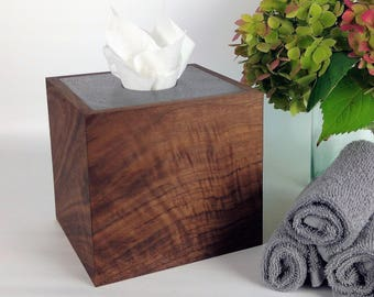 Tissue Box Cover Wood / Concrete Tissue Box Cover / Square Kleenex Box Cover / Tissue Box Holder Wood / Elegant Bathroom / Kleenex Holder