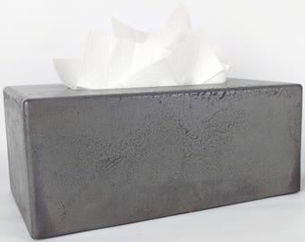 Concrete Tissue Box Cover / Kleenex Tissue Box Cover / Rectangular Tissue Box Cover / Facial Tissue Box Holder / Bathroom Organization