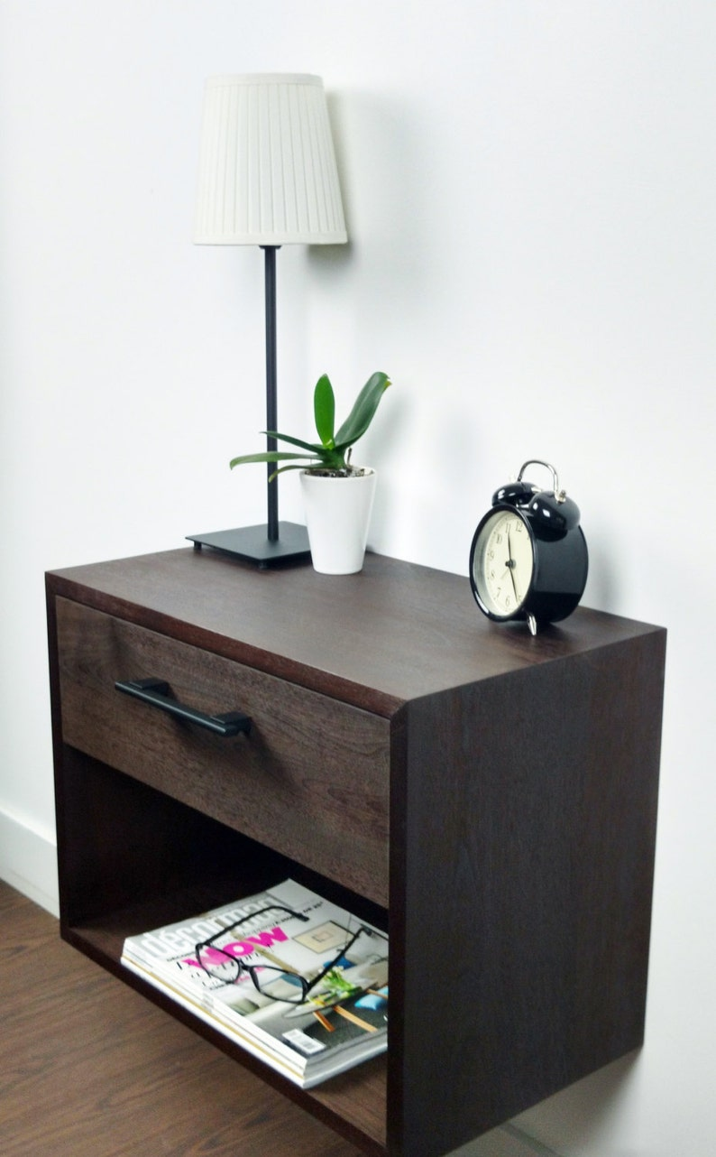 Walnut Floating Nightstand, Nightstand with Drawer, Nightstand Modern with  Bookshelf, Modern Wood Night Stand, Wall Mounted Nightstand Wood