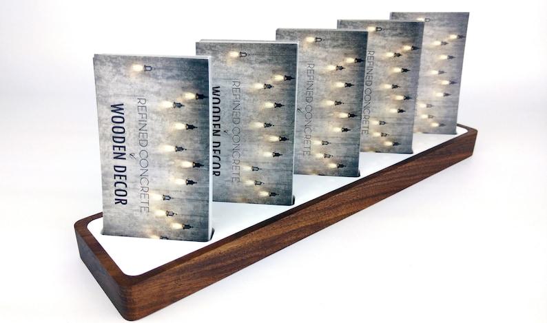 Multi Fach Visitenkarten Halter Schreibtisch Vertikale Visitenkarten Halter Holz Modernes Büro Schreibtischzubehör Für Ihn Karte Anzeige Nussbaum