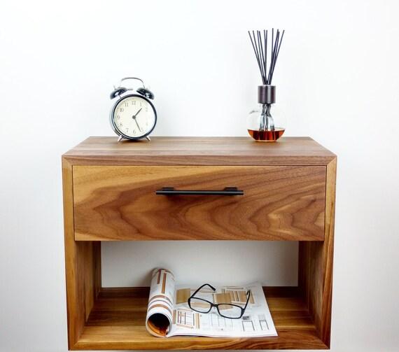 Wall Mounted Nightstand Diy: Walnut Floating Nightstand Nightstand With Drawer