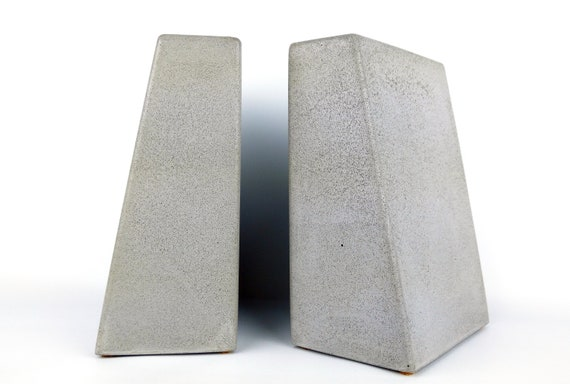 Bookends Concrete Bookends Modern Bookends Heavy Office Etsy